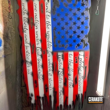 Metal Art Distressed American Flag  Cerakoted Using Hidden White, Armor Black And Stoplight Red