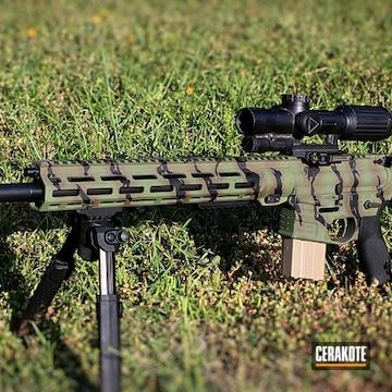 Vietnam Tiger Stripe Camo Ar Cerakoted Using Patriot Brown, Magpul® O.d. Green And Magpul® Flat Dark Earth