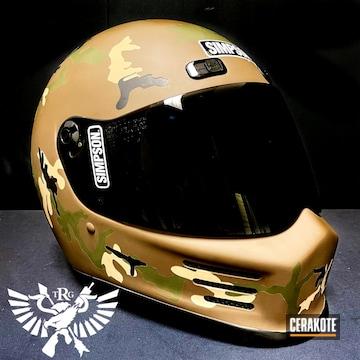 Custom Camo Simpson Helmet Cerakoted Using Forest Green, Glock® Fde And Graphite Black