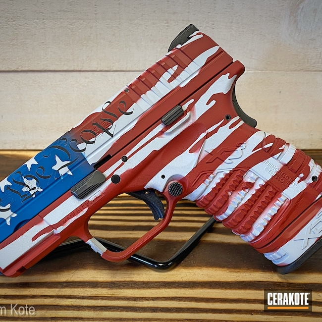 Cerakoted: Hidden White H-242,S.H.O.T,9mm,NRA Blue H-171,Graphite Black H-146,USMC Red H-167,Tattered American Flag,Pistol,American Flag,Springfield Armory,We the people,XDS