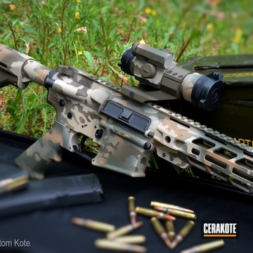 Custom Camo Ar Cerakoted Using Troy® Coyote Tan, Desert Sand And Multicam® Light Green