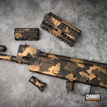 Custom Gold Camo Ak-47 Cerakoted Using Armor Black, Burnt Bronze And Gold