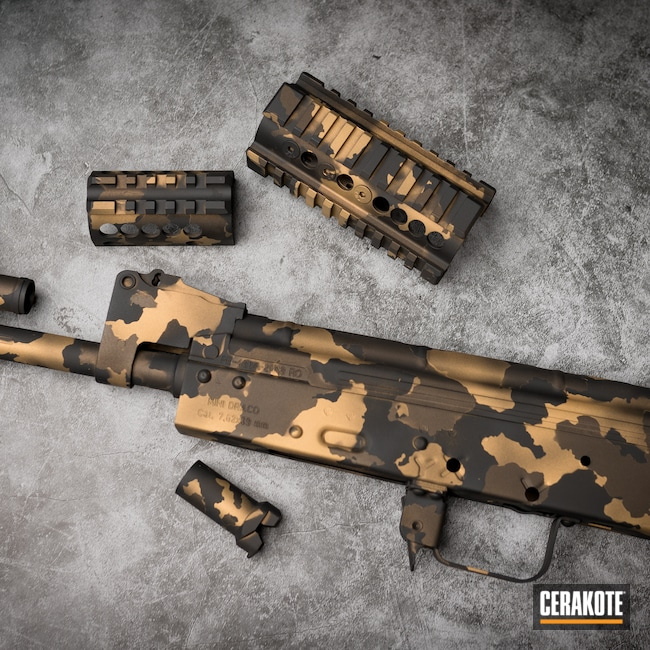 Cerakoted: S.H.O.T,Burnt Bronze H-148,Armor Black H-190,AK-47,Gold H-122
