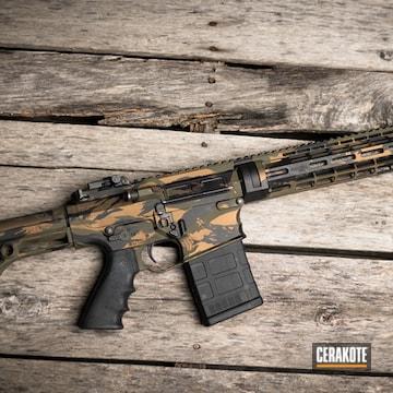 Custom Camo Ar Cerakoted Using Armor Black, O.d. Green And Burnt Bronze