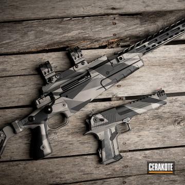 Splinter Camo Pistol And Rifle Cerakoted Using Armor Black, Titanium And Tungsten