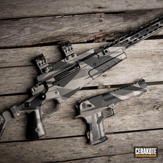 Cerakoted: S.H.O.T,Tungsten H-237,Titanium H-170,Armor Black H-190,Splinter Camo