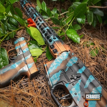 Custom Tiger Striped Themed Ar And Pistol Cerakoted Using Armor Black, Titanium And Aztec Teal