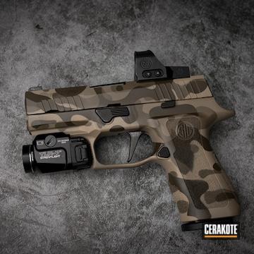 Custom Camo Sig Sauer P320 Pistol Cerakoted Using Desert Sand, Patriot Brown And Flat Dark Earth