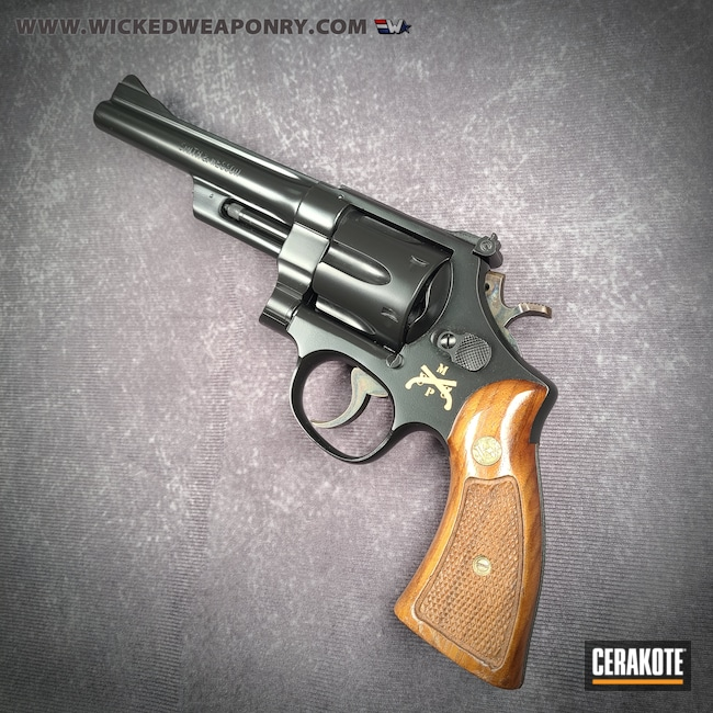 Cerakoted: S.H.O.T,BLACKOUT E-100,Smith & Wesson,Revolver,Purple Heart,Stormtrooper White H-297,Police,Military,Gold H-122