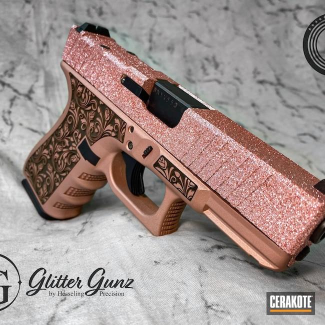 Cerakoted: S.H.O.T,Glock 19,9mm,Engraved,Roses,ROSE GOLD H-327