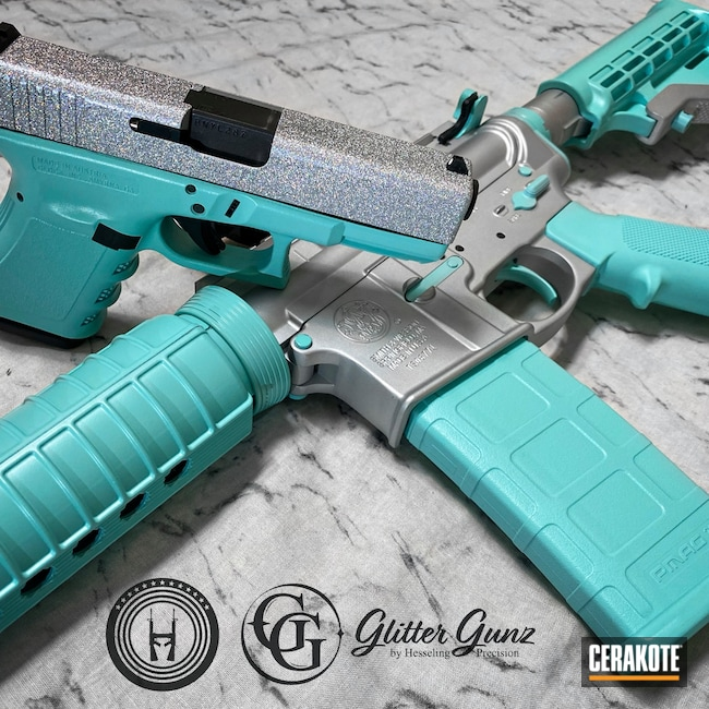 Cerakoted: S.H.O.T,Glock 19,9mm,M&P 15,Robin's Egg Blue H-175,Custom,Engraved,Hesseling,Satin Aluminum H-151,5.56,M&P15,Matching