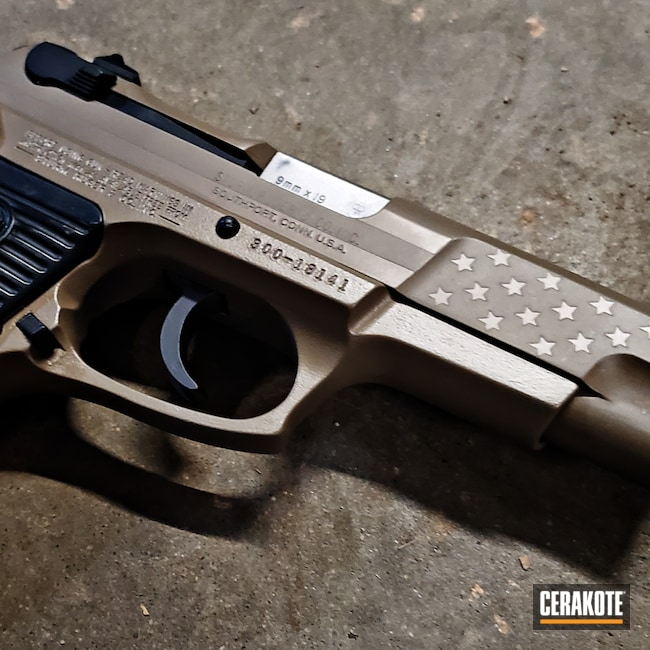 Cerakoted: S.H.O.T,Ruger P85,9mm,Ruger,M17 COYOTE TAN E-170,FDE E-200,Pistol,American Flag,Handgun