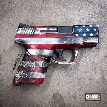 Distressed American Flag Themed Smith & Wesson M&p Shield Cerakoted Using Stormtrooper White, Usmc Red And Nra Blue