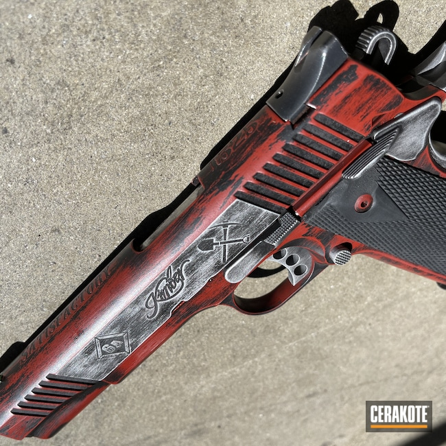 Cerakoted: S.H.O.T,.45,Kimber 1911,Graphite Black H-146,Kimber,.45 ACP,Crimson H-221,Custom 1911,Satin Aluminum H-151,1911