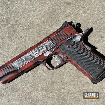 Battleworn Kimber 1911 Cerakoted Using Satin Aluminum, Crimson And Graphite Black