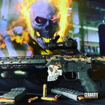 Skull Themed Ar Build Cerakoted Using Hunter Orange, Armor Black And Stormtrooper White