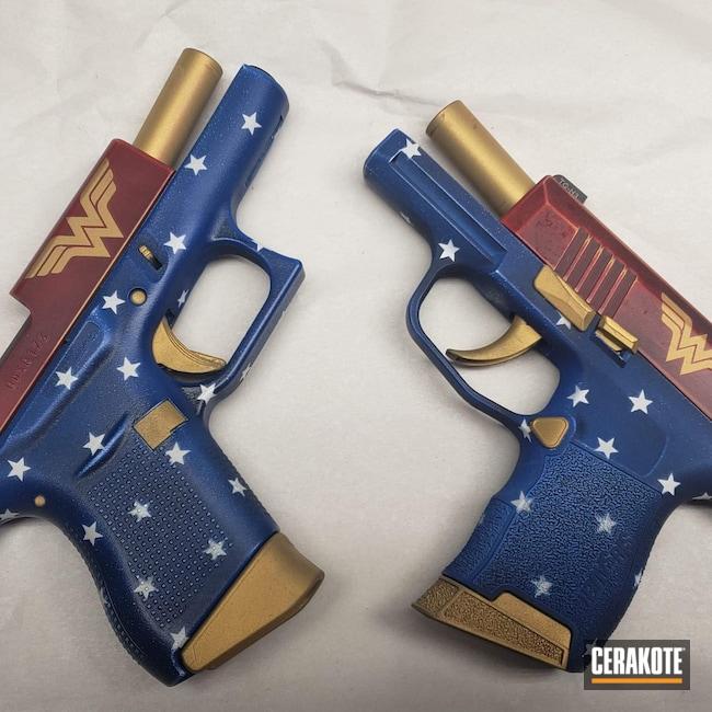 Cerakoted: Bright White H-140,S.H.O.T,Sig P365,Wonder Woman,NRA Blue H-171,FIREHOUSE RED H-216,Graphite Black H-146,Distressed,Glock,Sig Sauer,Glock 43,Handgun