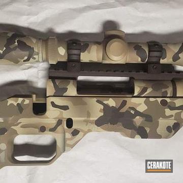 Custom Camo Bolt Action Rifle Cerakoted Using Patriot Brown, Plum Brown And Desert Sand