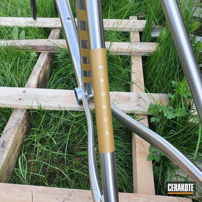 Cerakoted: Bicycle Frame,Graphite Black H-146,Gold H-122