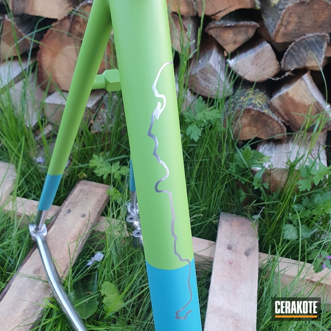 Cerakoted: S.H.O.T,Bicycle Frame,AZTEC TEAL H-349,Graphite Black H-146,Zombie Green H-168