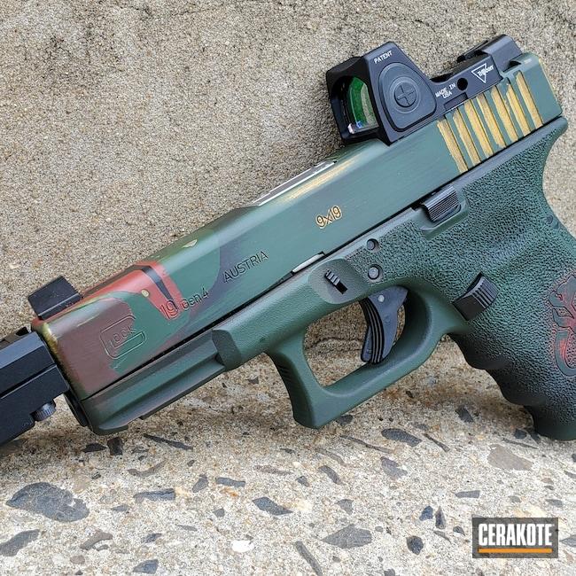 Cerakoted: S.H.O.T,RMR Cut,Pistol,Glock 19,9mm,Highland Green H-200,EZ Accuracy,Electric Yellow H-166,FIREHOUSE RED H-216,Boba Fett Theme,Custom,Graphite Black H-146,Glock,Star Wars