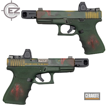 Mandalorian Themed Glock 19 Cerakoted Using Electric Yellow, Highland Green And Graphite Black