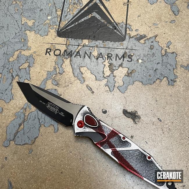 Cerakoted: S.H.O.T,Knights Templar,Distressed,Crimson H-221,Folding Knife,Armor Black H-190,Templar,Knife,Hidden White H-242,Knife Scales,Battleworn,Microtech,Worn