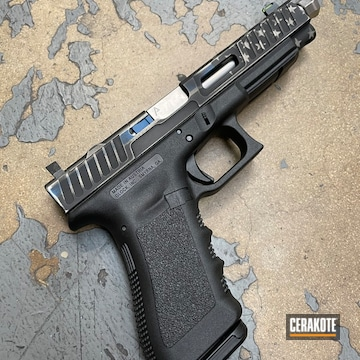 Distressed American Flag Glock 34 Cerakoted Using Armor Black, Bright White And Nra Blue