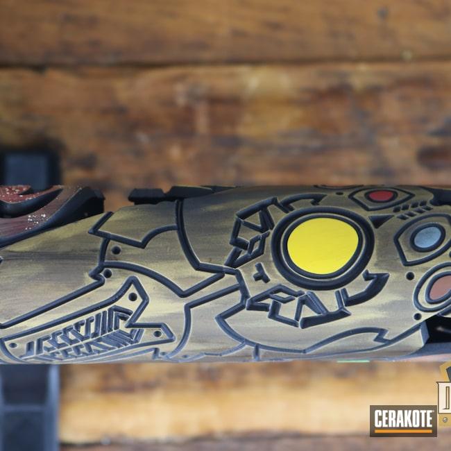 Cerakoted: S.H.O.T,Thanos,PARAKEET GREEN H-331,Marvel Comic,OX firearms,PINK SHERBET H-328,RUBY RED H-306,Firearm,PURPLEXED H-332,AR Rifle,SUNFLOWER H-317,POLAR BLUE H-326,AR-15
