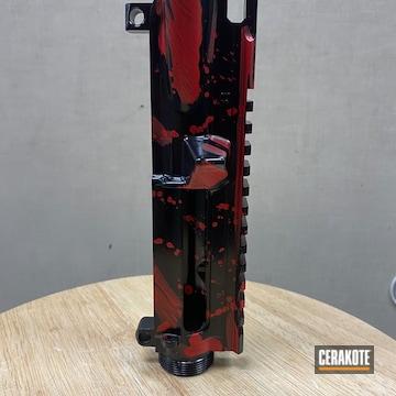 Ar Handguard Cerakoted Using Usmc Red And Gloss Black