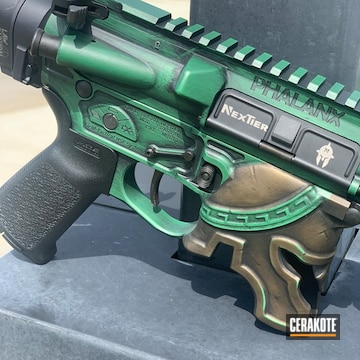 Spike's Tactical Spartan Themed Ar Cerakoted Using Squatch Green, Armor Black And Titanium