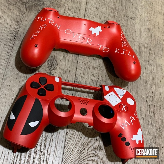 Cerakoted: Bright White H-140,S.H.O.T,playstation,controller,USMC Red H-167,Deadpool,Armor Black H-190,PlayStation 4,Custom Stenciling
