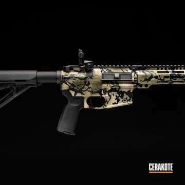 Custom Camo Ar Cerakoted Using Forest Green, Fs Brown Sand And Graphite Black