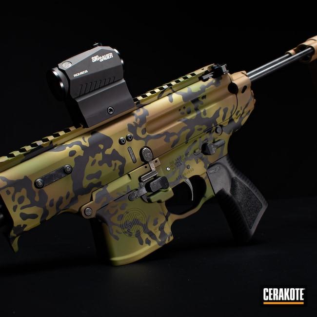 Cerakoted: S.H.O.T,MULTICAM® BRIGHT GREEN H-343,MPX,tropic,MULTICAM® OLIVE H-344,stilio,Sig Sauer,Sig,SIG™ DARK GREY H-210,Custom Camo,Firearm,Camo,MULTICAM® DARK BROWN H-342,Tropical