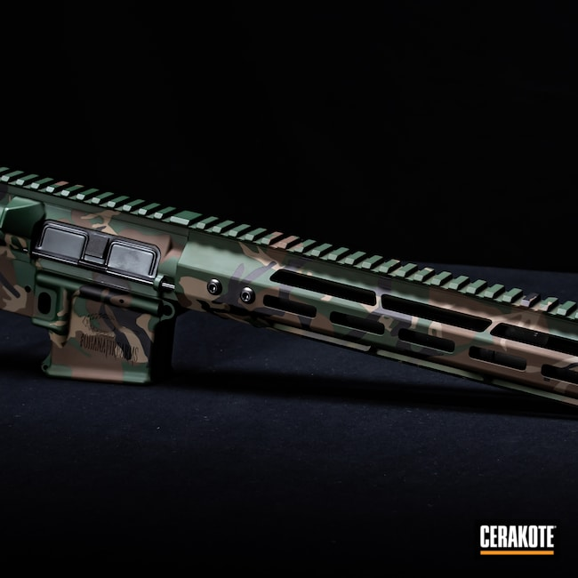 Cerakoted: S.H.O.T,M81,MAGPUL® FLAT DARK EARTH H-267,Woodland Camo,Graphite Black H-146,Camo,Firearms,Jesse James Eastern Front Green H-400,Chocolate Brown H-258,AR-15