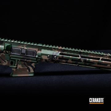 Woodland Camo Ar Cerakoted Using Chocolate Brown, Jesse James Eastern Front Green And Graphite Black