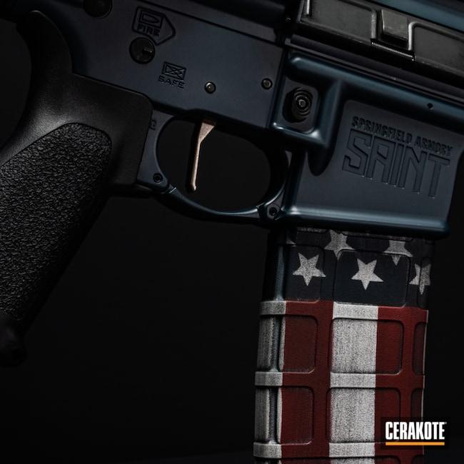 Cerakoted: S.H.O.T,Graphite Black H-146,AR,Firearm,Ridgeway Blue H-220,AR-15
