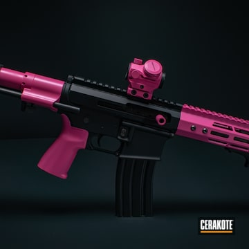 Two Tone Ar Cerakoted Using Prison Pink And High Gloss Armor Clear
