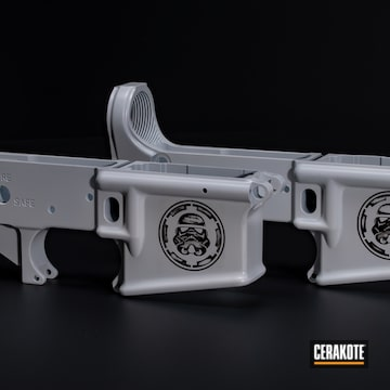 Ar Lowers Cerakoted Using Stormtrooper White And Graphite Black