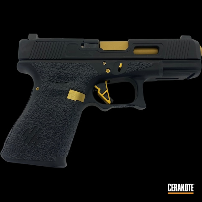 Cerakoted: S.H.O.T,Gucci Glock,Armor Black H-190,Glock 23,.40,Gold H-122