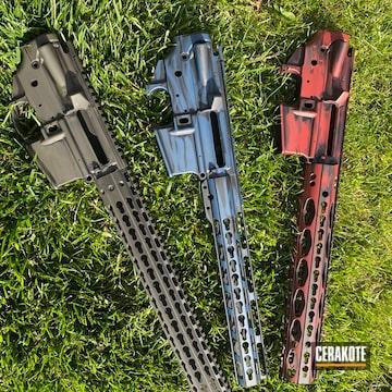 Battleworn Ar Builders Sets Cerakoted Using Kel-tec® Navy Blue, Crimson And O.d. Green