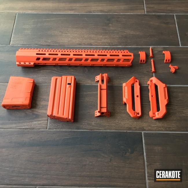 Cerakoted: S.H.O.T,AR Pistol,Graphite Black H-146,AR,.223,Hunter Orange H-128,AR9