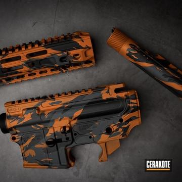 Custom Camo Ar Builders Set Cerakoted Using Armor Black, Tequila Sunrise And Sniper Grey