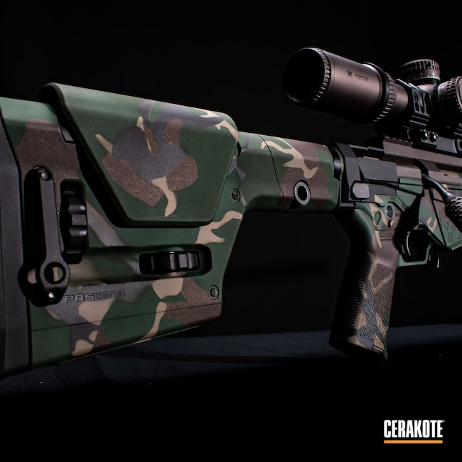 Cerakoted: S.H.O.T,M81,MAGPUL® FLAT DARK EARTH H-267,Ruger,Bolt Action,Woodland Camo,Precision,Graphite Black H-146,Firearm,Camo,Jesse James Eastern Front Green H-400,Chocolate Brown H-258