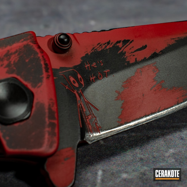 Cerakoted: S.H.O.T,Deadpool Theme,FIREHOUSE RED H-216,Graphite Black H-146,Deadpool,Knife,Kershaw