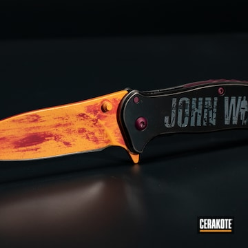 John Wick Themed Kershaw Knife Cerakoted Using Hunter Orange, Electric Yellow And Crushed Orchid
