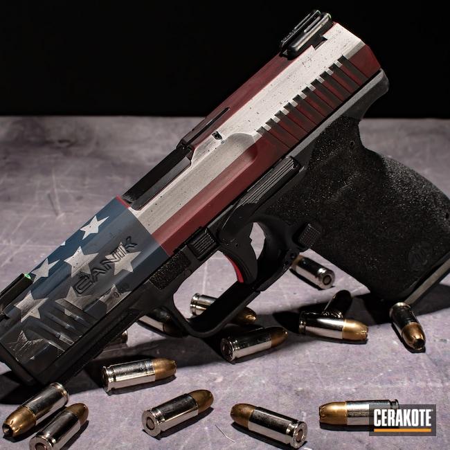 Cerakoted: Bright White H-140,S.H.O.T,Graphite Black H-146,Canik,RUBY RED H-306,Distressed American Flag,Firearm,Ridgeway Blue H-220,American Flag,tp9sfx
