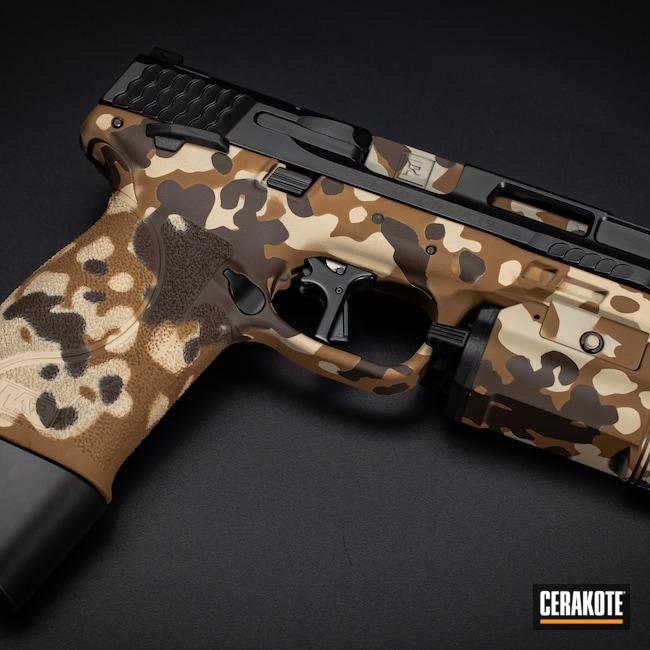 Cerakoted: S.H.O.T,M&P,FS BROWN SAND H-30372,Flecktarn,Graphite Black H-146,Smith & Wesson,Firearm,FS FIELD DRAB H-30118,Camo,Chocolate Brown H-258