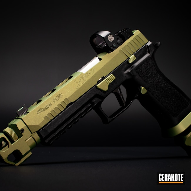 Cerakoted: S.H.O.T,Zombie Green H-168,P320,Firearm,Sig Sauer