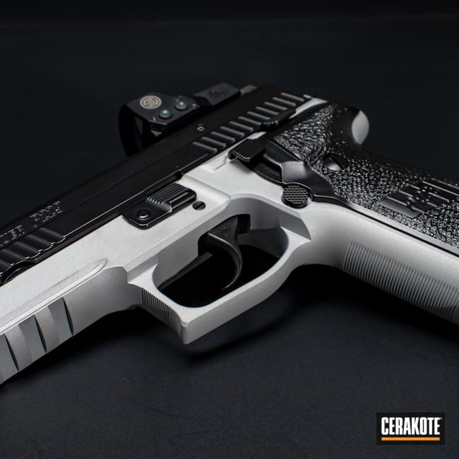 Cerakoted: S.H.O.T,Satin Silver V-119,BLACKOUT E-100,Firearm,P229,Sig Sauer